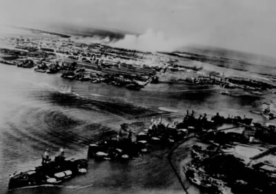 Captured Japanese photograph taken during the December 7, 1941, attack on P