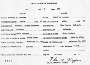 Marriage License of Everett H. Ormsbee & Edith M. Ormsbee