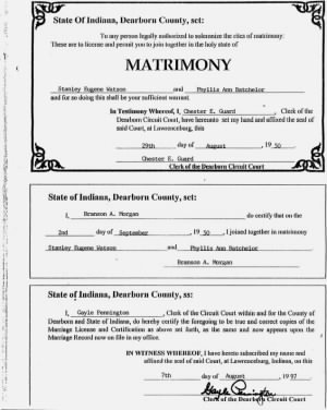 Marriage License - Stanley Eugene Watson & Phyllis Anne Batchelor