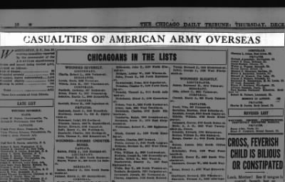 WWI Chicagoan causalties as of 26 Dec 1918