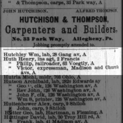 Huth (p408) 1890 Pittsburgh Directory