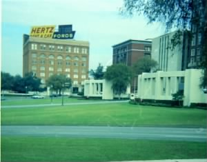 View of The Texas School Book Depository across Dealey Plaza, Nov. 8, 1967