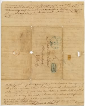 1838 Letter describing Christmas in Philadelphia (back)