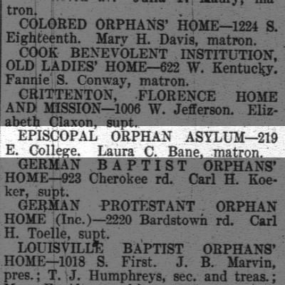Episcopal Orphanage in Louisville, KY