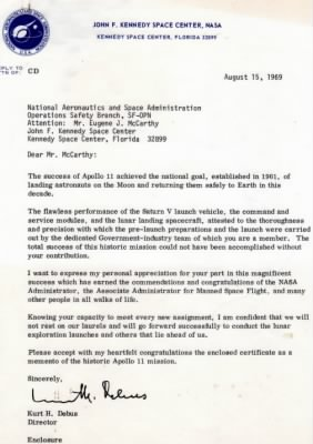 Apollo 11 commendation letter