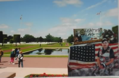 "Barbi is holding ""Cleatus"" Flag (48 Stars) given to his parents, Cleatus was my husband Paul Connolly's Brother."