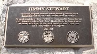 A plaque in honor of James Stewart's spirit of humanitarianism in Griffith Park, Los Angeles.