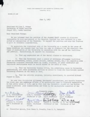Letter from 8 UNC School of Law professors to President William Friday - 6 June 1963
