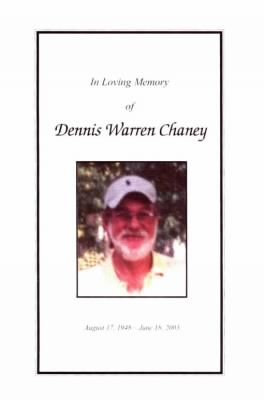 Dennis Chaney Funeral Card