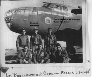 "Lt Brellenthin and his CREW with B-25 (Could be ""Pride of the Lakes of Wisconsin"")"