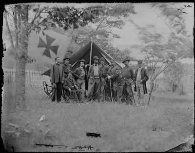 Mathew B Brady Collection of Civil War Photographs › B-4 General Charles Griffin and Staff of Eight; Recognized - Captain Richard N. Batchelder, Colonel Sherwing. - Fold3.com