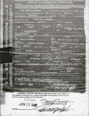 Carl Jerry Bremmer Birth Certif done by son Earl LeRoy Bremmer