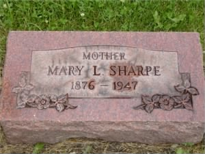 Mary L Sharpe (Linstrum) - Headstone