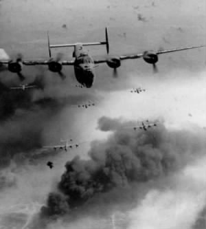 B-24 on a Bomb Run in the FLAK