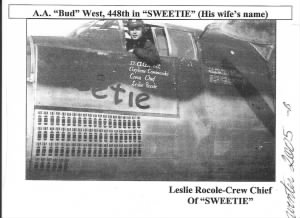 "321st BG, 448th BS, Lt A A BUD West in the Cockpit of his B-25 ""Sweetie"" 1944."