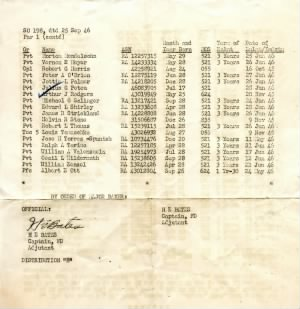 Special Orders # 198, 25 Sept 1946, HQ, Finance Training Center, Army Finance Center, St. Louis, MO. (Page 2 of 2)
