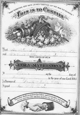 Nathaniel & Carrie Chamberlain Family Bible Marriage Record