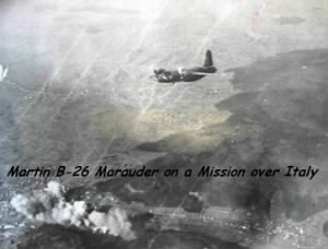 B-26 Marauders on a Combat Mission.  Clarence was an Aerial Gunner.