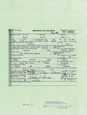 long-form birth certificate for Barack Obama