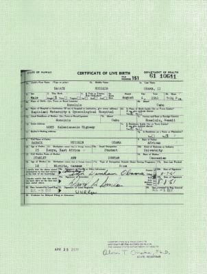 Original document that the president was born in Hawaii.