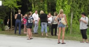 People visiting Caylee memorial