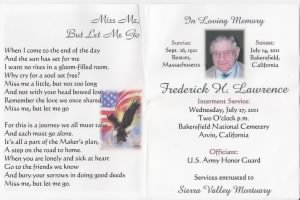 Memorial Card for Fred Lawrence, Calif. 2011