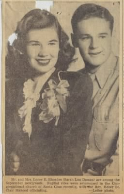 Sarah Doman weds Leroy E Rhoades of the US AAC WWII