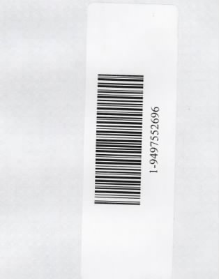Barcode from back of Karen Cooper's Envelope re Request Number