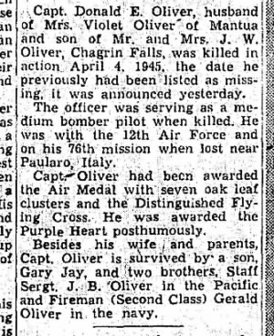 Capt. Don Oliver, 4 April,1945 310th BG,381stBS, KIA