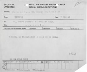 WWII Pearl Harbor attack radiogram