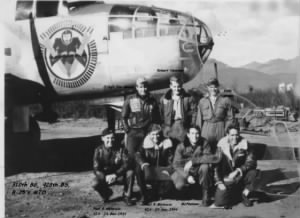 Joseph Meere with his Combat Crew and a B-25 showing the 428th SQUAD Nose-Art.