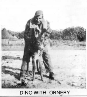 "Dino with the Squad Mascot ""Ornery"", a Corsican Donkey, 1944"