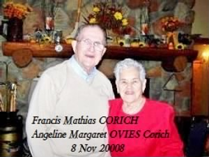 Francis Mathias Corich w/wife Angeline Margaret Ovies Corich 8 Nov 2008