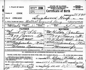 Wallace R. Stanz Birth Certificate