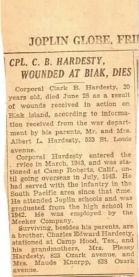Hardesty Killed at Biak