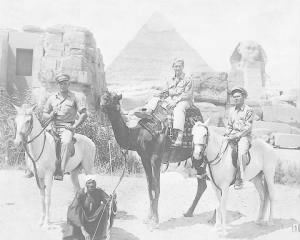321st BG, 445th BS, MTO R & R in Egypt with friends, I believe Edward is on the RIGHT