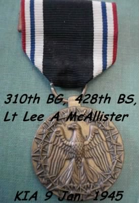Lt McAllister, Shot-Down, 10 Dec. 1944 - POW, then KIA on 9 Jan. 1945