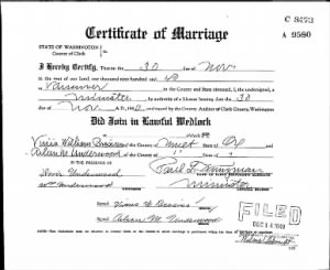 Certificate of Marriage for Vinis Brosius and Aileen Underwood