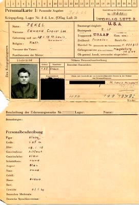Edward Grover Lee Jekel - German Prisoner of War Record