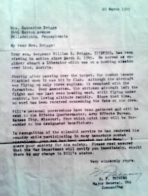 Letter to Grandmother about William Briggs MIA
