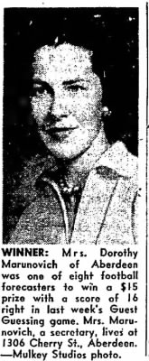 Wed. 14 Nov. 1956 MRS Marunovich wins prise :)