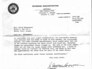 John Wilfred Montgomery VA Letter From Doctor Post Mortum Exam