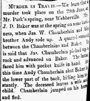 Jas W & Andy Chamberlain 1859 Kill J D Baker in Travis Co.JPG