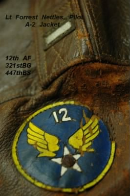 The Theatre-made 12th Air Force Emblem on Forrest Nettles Flight Jacket
