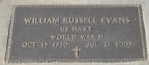 William Russell Evans Navy Headstone