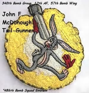 340th Bomb Group 486th BS, John F McDonough, Tail Gunner on Combat B-25