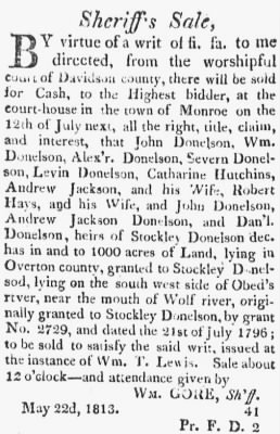 Stockley Donelson Dec'd 1813 Sherifff Land Sale.JPG