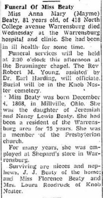 Anna Mary Beaty 1950 Obit.JPG