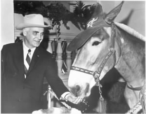 Charley Finley and his mascot mule