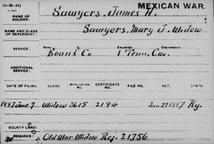 James Henry Sawyers Mex War Pens Card.JPG